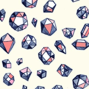 Scattered Geo Gemstones in Navy & Coral