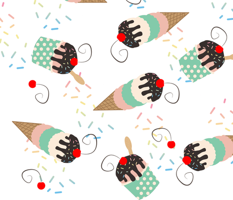 Ice Cream Social  fabric by nfdesigncreations on Spoonflower - custom fabric