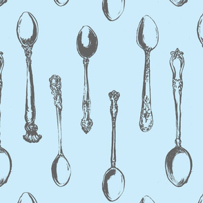Inked Spoons Gray and Blue