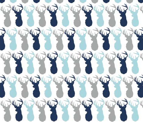 Deer in Prince Aqua and Navy  fabric by beaugeek on Spoonflower - custom fabric