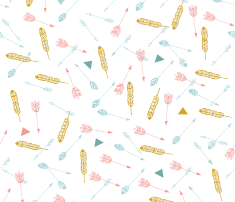Gold Feathers & Arrows fabric by pixabo on Spoonflower - custom fabric