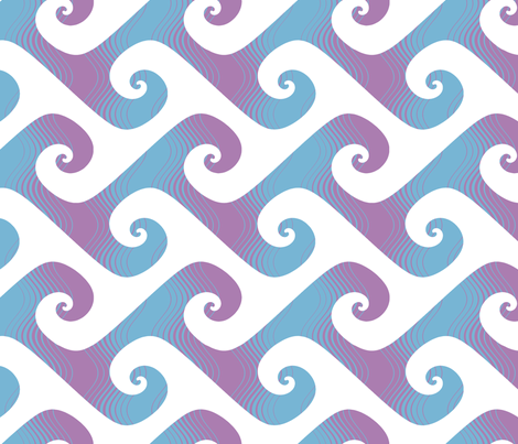 jumbo stripey waves in lavender and light blue fabric by weavingmajor on Spoonflower - custom fabric
