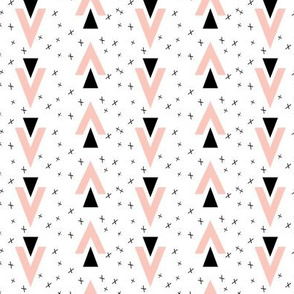 chevron triangles // plus sign black and white pink baby nursery kids chevron triangle tri