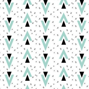 chevron triangles // plus sign black and white mint kids baby nursery