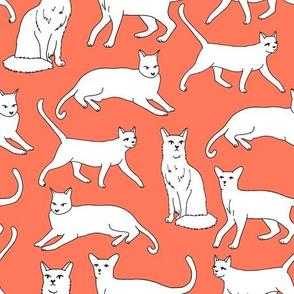 cats // orange coral cat fabric for cat ladies cute illustrated cats