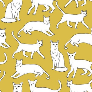 cats // cat mustard yellow cat cute cat lady pet cat fabric