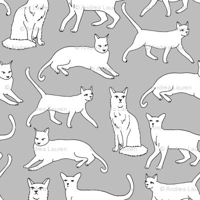 cats // grey cat cute pet cat fabric for cat ladies