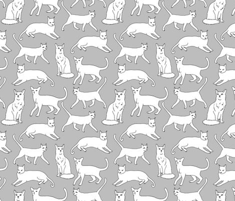 cats // grey cat cute pet cat fabric for cat ladies fabric by andrea_lauren on Spoonflower - custom fabric
