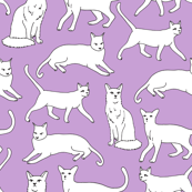 cats // purple cat lady cute cat fabric for girls sweet kittens