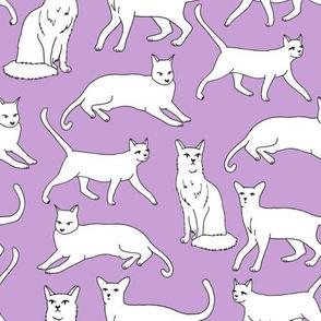 cats // purple cat lady cute cat fabric for girls sweet kittens