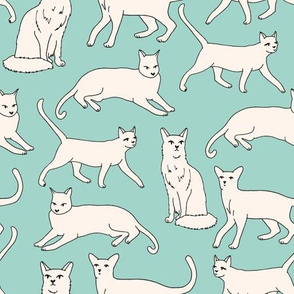 cats // mint and cream off-white cat kitten kitty cute cat fabric