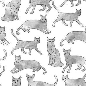 cats // grey watercolor cats watercolors painted grey nursery sweet cat fabric