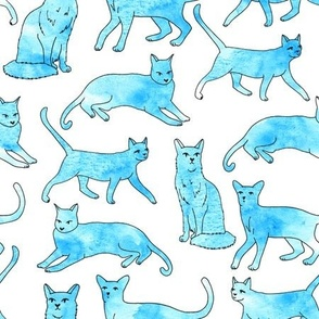 cats // watercolor aqua turquoise cats painted watercolors cat fabric