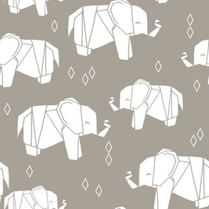 Origami Elephant - Taupe by Andrea Lauren