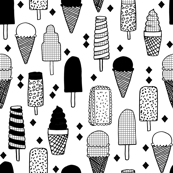 ice cream // ice creams ice cream cone black and white sweets summer fabrics