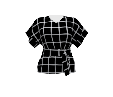 Retro Plaid Windowpane - Black