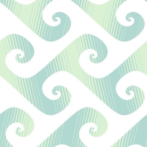 XL diagonal stripe wave in pale mint