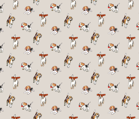 Beagles at Play fabric by pixabo on Spoonflower - custom fabric