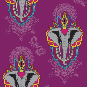 Elephants in Plum