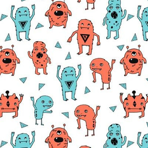 monsters // blue and orange monster fabric kids nursery baby cute scary monsters fabric