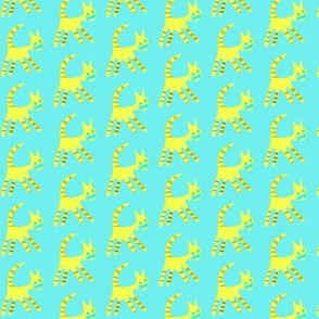 Yellow Cat on Aqua