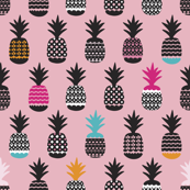 Fun black and white pink and blue color pops geometric pineapple fruit summer beach theme illustration pattern