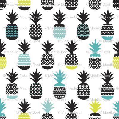Fun black aqua blue and lime ananas color pops geometric pineapple fruit summer beach theme illustration pattern