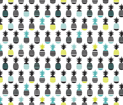 Fun black aqua blue and lime ananas color pops geometric pineapple fruit summer beach theme illustration pattern fabric by littlesmilemakers on Spoonflower - custom fabric