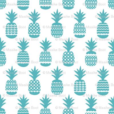 Fun ocean blue aqua ananas pineapple geometric pineapple fruit summer beach theme illustration pattern