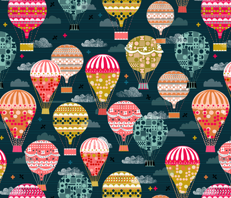 hot air balloons // retro vintage hot air balloons flying machines fabric by andrea_lauren on Spoonflower - custom fabric