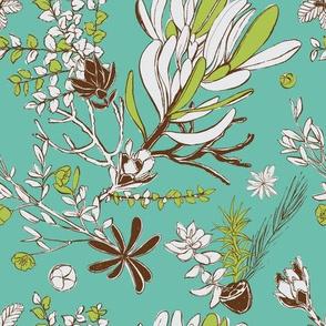 Teal Cradle Flora