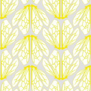 Wings of bees grey and yellow