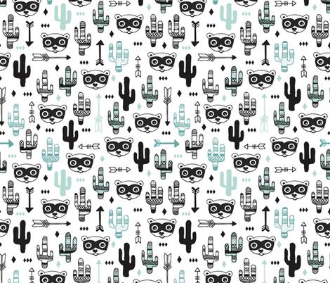 Fun Mint blue pastel raccoon cactus garden indian summer arrow geometric illustration pattern kids print fabric by littlesmilemakers on Spoonflower - custom fabric