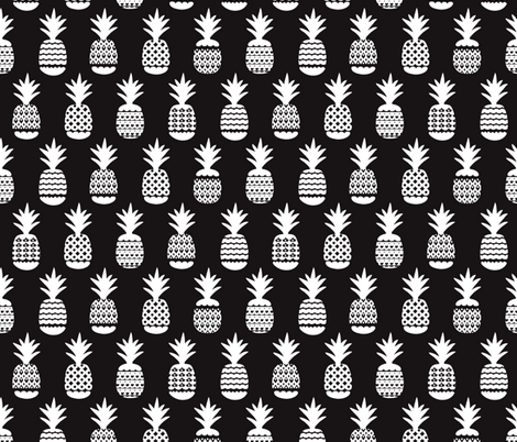 Fun black and white ananas geometric pineapple fruit summer beach theme illustration pattern fabric by littlesmilemakers on Spoonflower - custom fabric