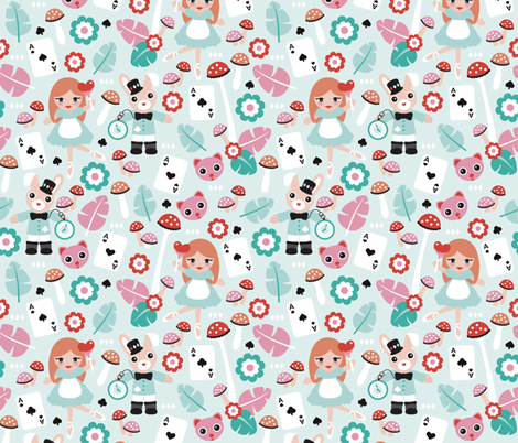 Alice in wonderland and mad hatter cat and cards fairy tale theme illustration pattern design for kids fabric by littlesmilemakers on Spoonflower - custom fabric