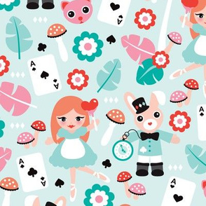 Alice in wonderland and mad hatter cat and cards fairy tale theme illustration pattern design for kids