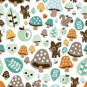Super soft pastel baby boy fall woodland autumn animals deer owl and squirrel illustration pattern design