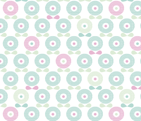 Sweet pastel blue and mint spring poppy flowers blossom retro style garden pattern fabric by littlesmilemakers on Spoonflower - custom fabric