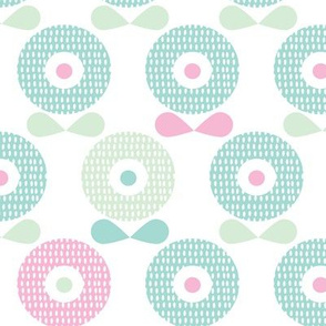 Sweet pastel blue and mint spring poppy flowers blossom retro style garden pattern
