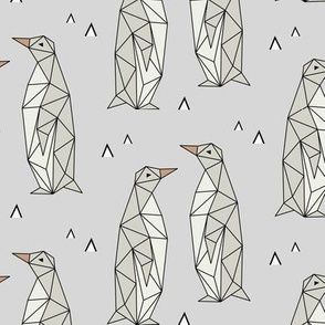 Geometric Penguins Gray Background