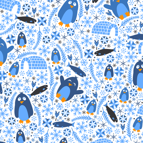 Penguin Wonderland (Blue) fabric by robyriker on Spoonflower - custom fabric