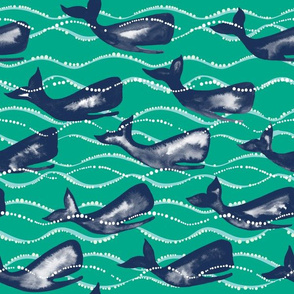 Whales In Waves - Green