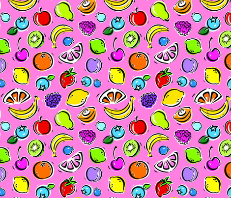 Fruit_Fiesta_Coral fabric by margodepaulis on Spoonflower - custom fabric