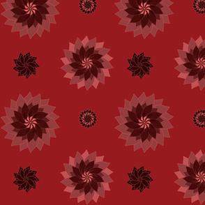 Red Pinwheel Flowers