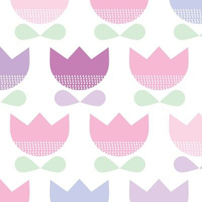 Sweet pastel violet and mint spring poppy flowers blossom retro style tulip garden pattern