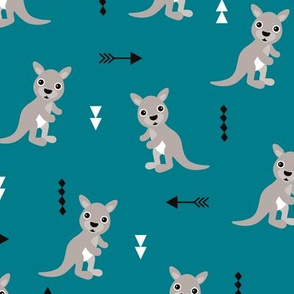 Cool blue adorable geometric kangaroo illustration australia kids pattern design