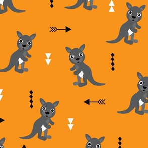 Hot orange adorable geometric kangaroo illustration australia kids pattern design