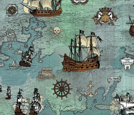 Pirate Ships Map Blue Big Repeat fabric by teja_jamilla on Spoonflower - custom fabric