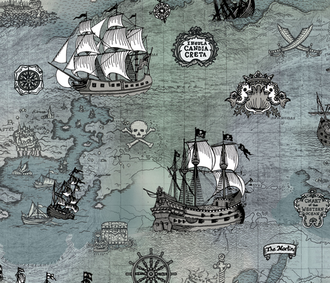 Pirate Ships Map Grey Big fabric by teja_jamilla on Spoonflower - custom fabric