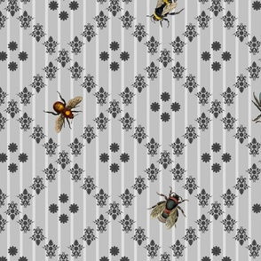 Vintage Busy Bee Grey Colours Large